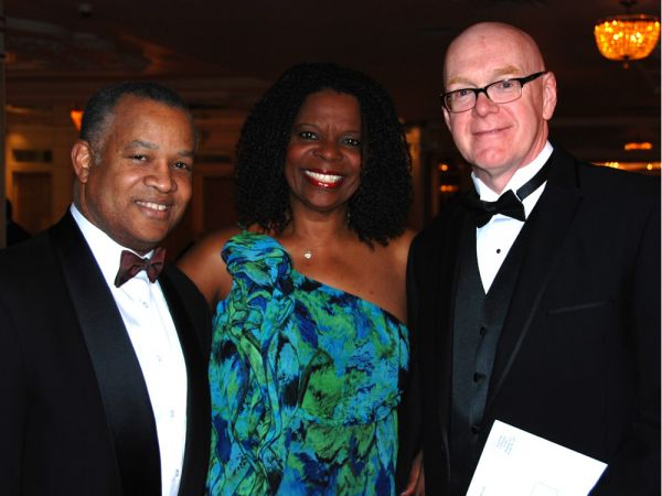 Pictured left to right: Dr. Louis J Auguste, president of the Association of Haitian Physicians Abroad New York Chapter; Nicole Francis, Aesclepius Medical Society; and Dr. Henri Lanctin