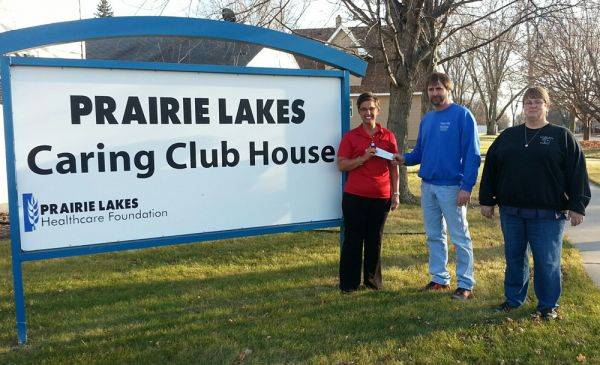 Alison Gilbertson, Executive Director of the Prairie Lakes Healthcare Foundation, Troy Nygaard and Bonnie Glines of Magic Mile Casino.